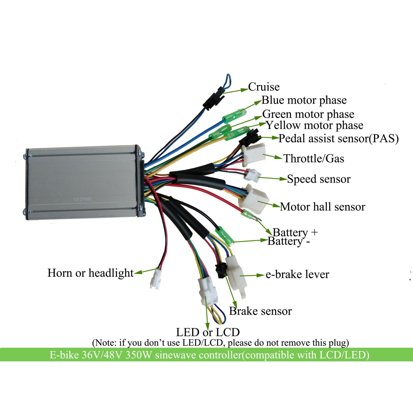 36v 48v 350watts Kt Kunteng Sine Wave Motor Controller For