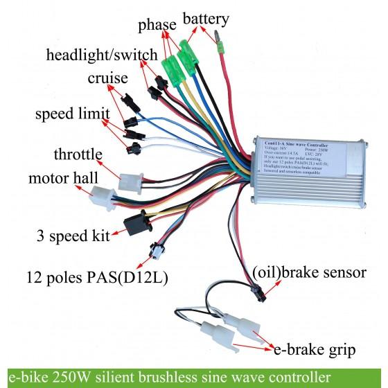 e-bike-36v-250w-silent-brushless-sine-wave-controller
