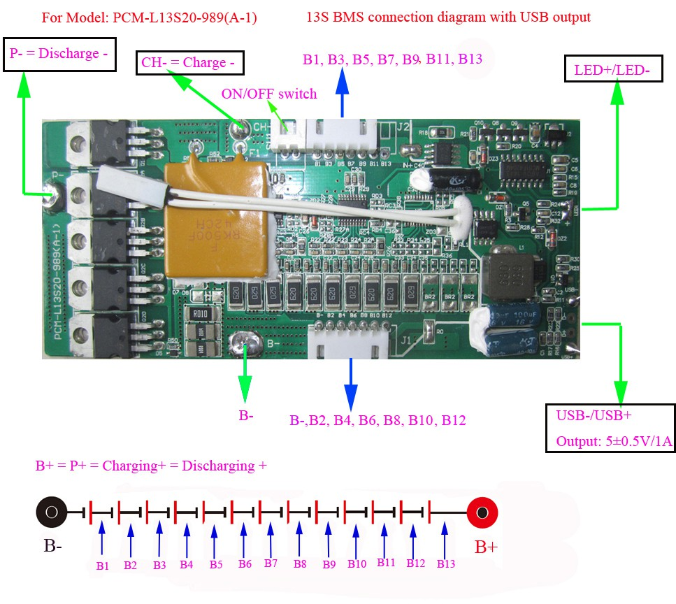 Bms System Diagram Engine Control Wiring 48v Lithium Ion For Ebike Frame Battery With 5v Usb Solar Block
