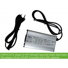 120W 54.6V 2A alloy charger with 2.1DC connecor for 48V hailong-1, tigershark, new polly frame battery