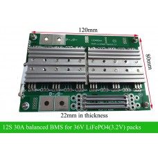 12S 30A balanced BMS for 36V LiFePO4 Battery