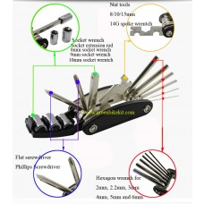 Bicycle multi-function tool sets for repair or e-bike conversion