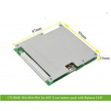 17S 30A 40A 50A BMS for 60V Li-ion battery pack with Balance LED light