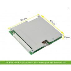17S 30A 40A 50A BMS for 60V Li-ion battery pack with Balance LED light