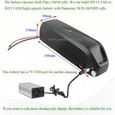36V ebike new shark/dolphin/frame li-ion battery with 5V USB output(HL-2)