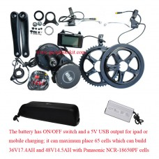 Bafang BBS01B kit 36V 250W with Hailong 02 downtube battery
