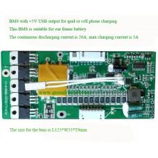 48V E-bike BMS/PCM for frame li-ion battery with 5V USB output
