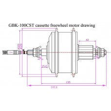 GBK-100CST cassette freewheel motor kit with 36V bottle shape battery