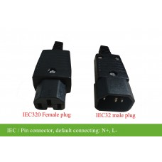 Prong connector/Pin connector, IEC32-male/IEC320 female