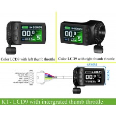 KT LCD9 colorful compact disiplay 24V/36V/48V with intergrated right thumb throttle