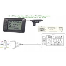 ebike Kunteng KT LCD7U 24V 36V 48V control panel LCD meter with Bluetooth for electric bike controller