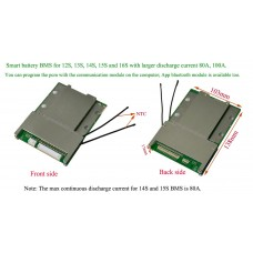 Intelligent battery BMS 12S 13S 14S 15S 80A/100A with software/bluetooth app control
