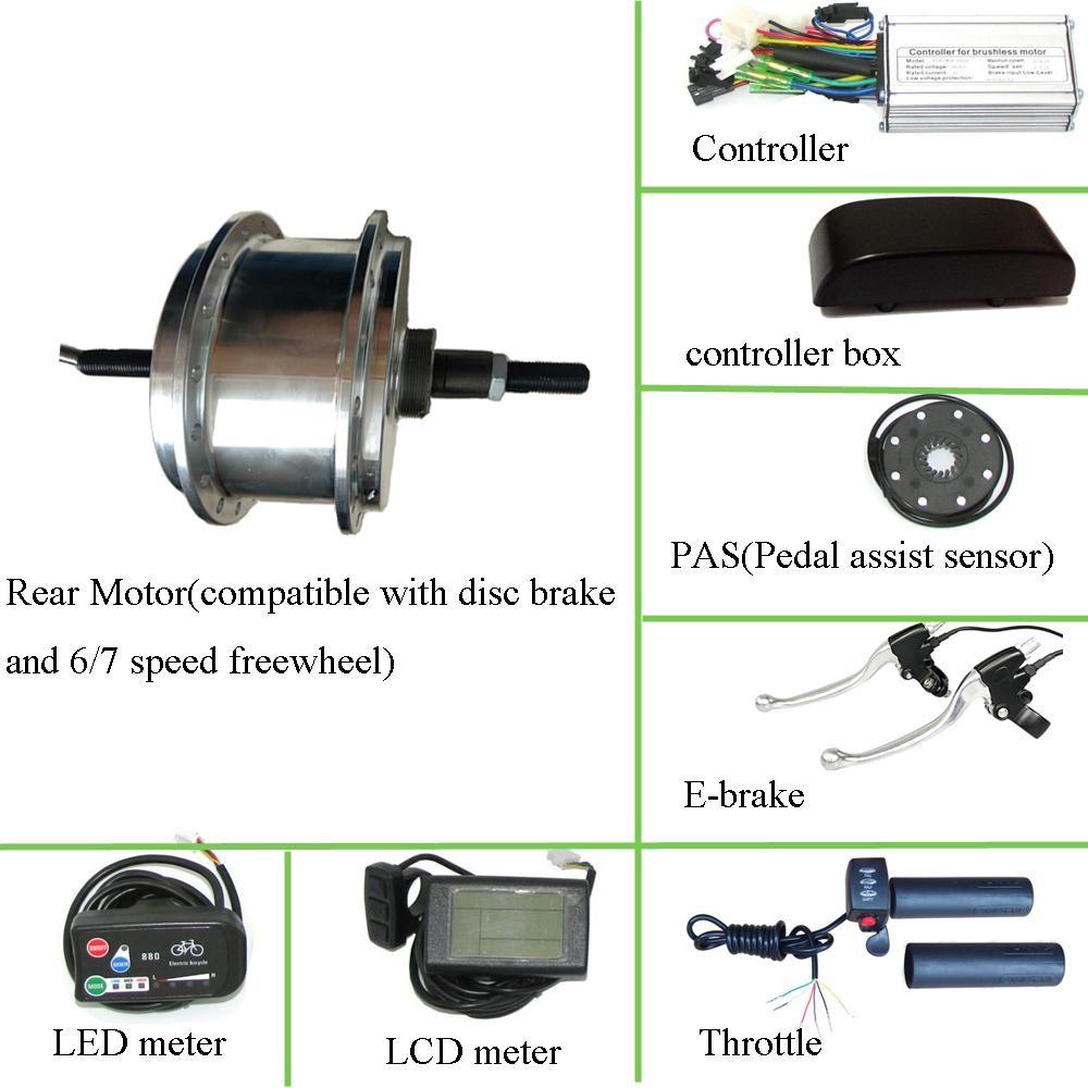 36v 250w Motor Rear Hub Kit For Electric Bike Conversion Light
