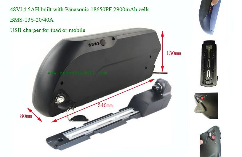 ebike new style frame battery 48V high power for bafang bbs kits ...